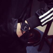 Fashion Simple Women Men's Faux Leather Quartz Analog Sport Couple Wrist Watch