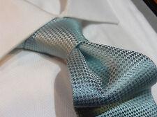 Dona Dona Silk Tie Necktie Solid Aqua Blue Birdseye Dot