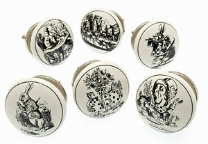 Door Knobs Ceramic 'Alice in Wonderland' Black & White Cupboard Drawer Set of 6