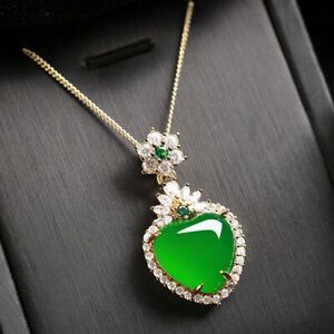 Love Heart Genuine Green Agate White Crystal Gems Silver Charm Necklace Pendants
