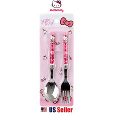 Sanrio Hello Kitty Pink Ribbon Simple Lunch Stainless Utensil Set : Spoon & Fork