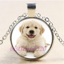 Golden Retriever Photo Cabochon Glass Tibet Silver Chain Pendant Necklace