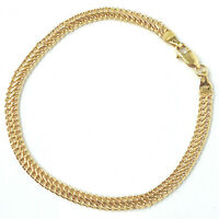 Flat Gold Woven Bracelet 9ct Yellow NEW Ladies 4mm 2.4g 7.5 Inches Hallmarked