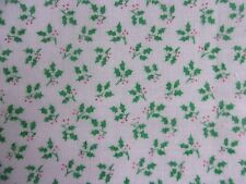 Christmas Green Holly/Red Berries on White Cotton Sewing Quilting Fabric-1 Yard