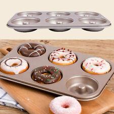 6 Cup Steel Doughnut Donut Bagel Tin Pan Mould Mold Non Stick Anti Warp Bakery