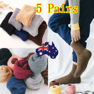 5 Pairs Extremely Cozy Socks Women Men Winter Warm Sleep Bed Floor Home Fluffy T