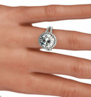 ESTATE CERTIFIED 5 CARATS DIAMOND HALO RING 18 KT WHITE GOLD 6 PRONGS VVS2