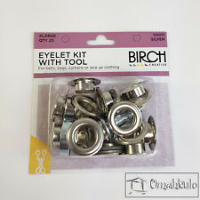 BIRCH - Eyelet Kit with Tool - Extra Large - SILVER - 20 Pieces