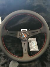 Universal AK Steering Wheel 350mm LEATHER FLAT For OMP MOMO ND SPARCO