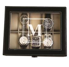 Personalized Black Watch Storage Box with Initial