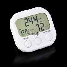 Indoor Outdoor Digital Temperature Humidity Meter Hygro Thermometer Clock White!
