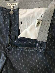 "Calvin Klein 32 x 10"" Blue Geometric Pattern Flat Front 100% Cotton Chino Shorts"
