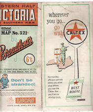 BROADBENTS WESTERN / EASTERN VICTORIA ROAD MAPS (2) 1950'S Caltex petrol ad lo