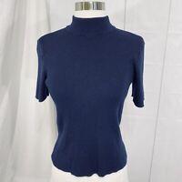St. John Collection Marie Gray Small Top Sweater Santana Knit Navy Mock Neck #C