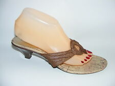 Predictions Brown Size 9.5 M Leather Mules Slides Kitten Heels Cork Shoes
