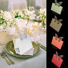 100PCS Butterfly Laser Cut Place Cards Pearlised Card Metallic Name Card Wedding