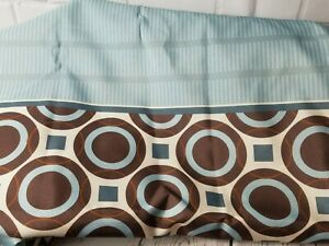 Mainstay Blue Grey Brown Striped Circle Square Fabric Shower Curtain + Rings L1
