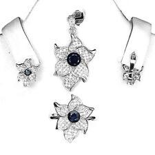 Parure Saphir bleu Argent 925. Pendentif + chaine, bague, boucles d'oreille