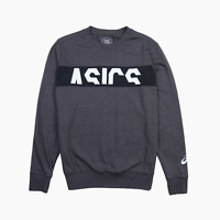 Asics Mens Spell Out Logo Lightweight Sweater Jumper S Small Charcoal Grey White