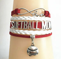 Infinity Love SOFTBALL MOM With Softball Baseball Charms Leather Sports Bracelet