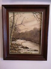 Oil Painting On Board ' River Wharfe ', Signed By Tom Holland