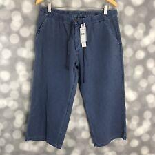 O'Neill Pants Womens Large Cotton Blue Jacquard Print Cropped Capri Drawstring