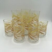 Vintage LIBBEY Golden Wheat Glasses Tumblers & Juice Glasses Set Of 8 MCM