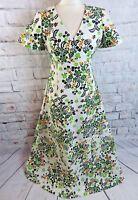 "Vintage 70s maxi dress 10 12 Bust 37"" floral ditsy green yellow boho folk long"