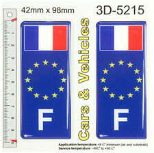 2 F France French euro star Flag Blue Gel Domed Number Plate Sticker Badge Decal
