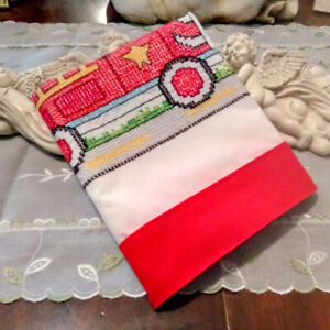 COUNTRY COTTAGE KIDS HANDMADE EMBROIDERED RED FIRETRUCK DALMATION DOG PILLOWCASE