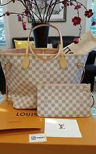 Brand New LOUIS VUITTON Neverfull MM Damier Azur ROSE BALLERINE with Pouch 2017!
