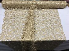 GOLD FLORAL EMBROIDERY GUIPURE LACE FABRIC FRENCH BRIDAL VEIL BY THE YARD