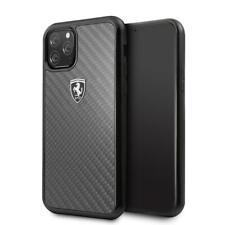 Ferrari Funda Rígida IPHONE 11 Pro Real Carbono Fibra Negro 360 Grado Protección