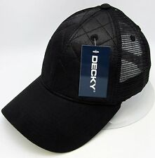 92218a77fb74e Quilted Snapback Hat Mesh Trucker Ball Cap Curved Visor OSFM Black New