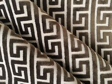 CLASSIC 4 YARDS CLASSIC GREEK KEY CUT VELVET SIENNA BROWN LINEN FABRIC OUTLET