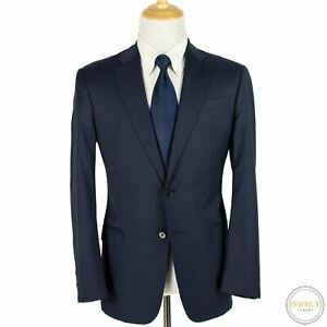 CURRENT Giorgio Armani Blue Wool Micro Check Italy Woven Flat F. 2Btn Suit 40S
