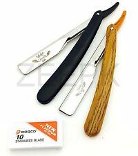STRAIGHT RAZOR MEN SHAVING KNIFE 2 PCS SET (BLACK AND BROWN) + 10 DORCO BLADES