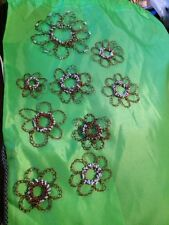 Crocheted  Flowers With Beads. handmade With Recycled Copper Wire-9 In All