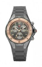 MICHELE Tahitian Jelly Bean Gray Silicone Rose Gold 40mm Watch MWW12F000064