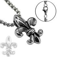 1 Stück Kettenanhänger französische Lilie Fleur de lys Anhänger Edelstahl Symbol