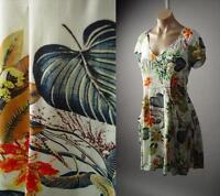 Tropical Leaf Botanical Garden Island Floral Print Ivory Sun 224 mv Dress S M L