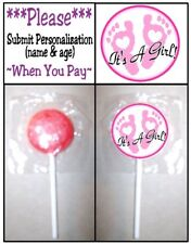 24 It's A Girl Footprints Welcome Baby Shower Lollipop Stickers Favors Pink Its