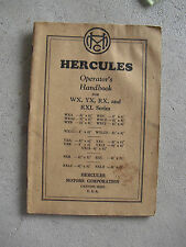 Vintage 1939 Booklet Hercules Motor Corp Operator's Manual WX YX RX RXL