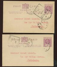 MAURITIUS KG5 1934 STATIONERY 3c GPO + ARGY 2 CARDS..L1