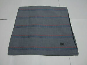 "USED MIYAKE BLUE STRIPED PATTERN COTTON 18""HANDKERCHIEF HANKY POCKET SQUARE MEN"