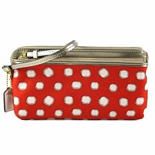 Coach 49941 Poppy Mini Dot Double Zip Wallet Wristlet (Desert Sky Red)