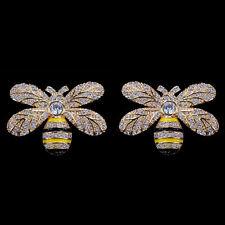 Ohrstecker mit emaillierten Bienen, Zirkonia, Gelbgold auf 925er Sterlingsilber