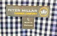 Peter Millar Men Summer Comfort Shirt Size Large L Blue White Long Sleeve Button