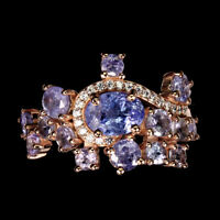 Unheated Oval Blue Tanzanite 7x5mm White Cz 925 Sterling Silver Ring Size 9.5