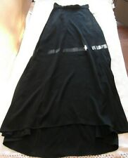 NWT Kay Unger New York Black Crepe Knit Satin Long Full Skirt  Misses Size 4